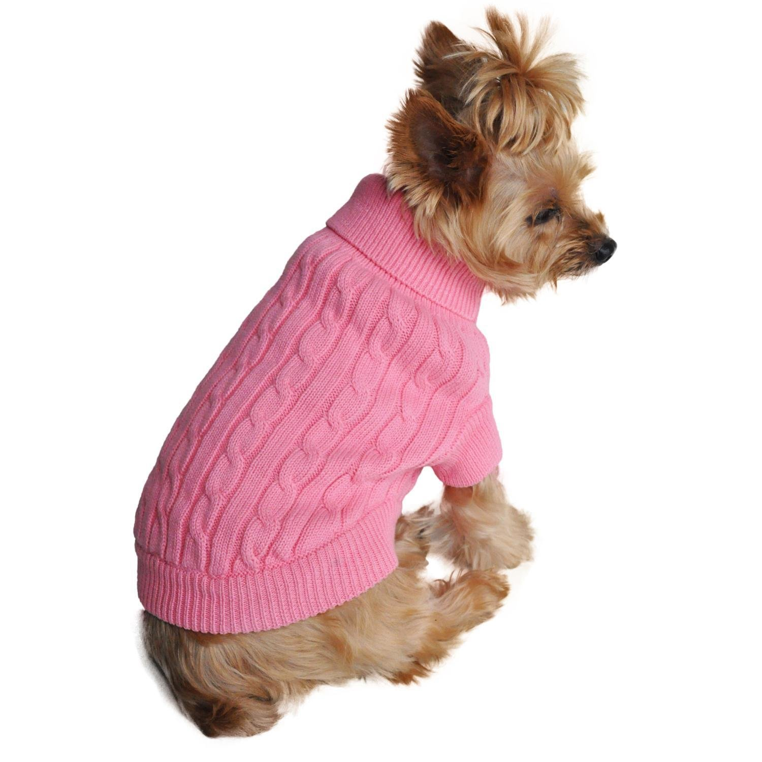 Combed Cotton Cable Knit Dog Sweater (Candy Pink)