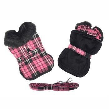 Hot Pink Plaid w/Black Dog Harness Coat