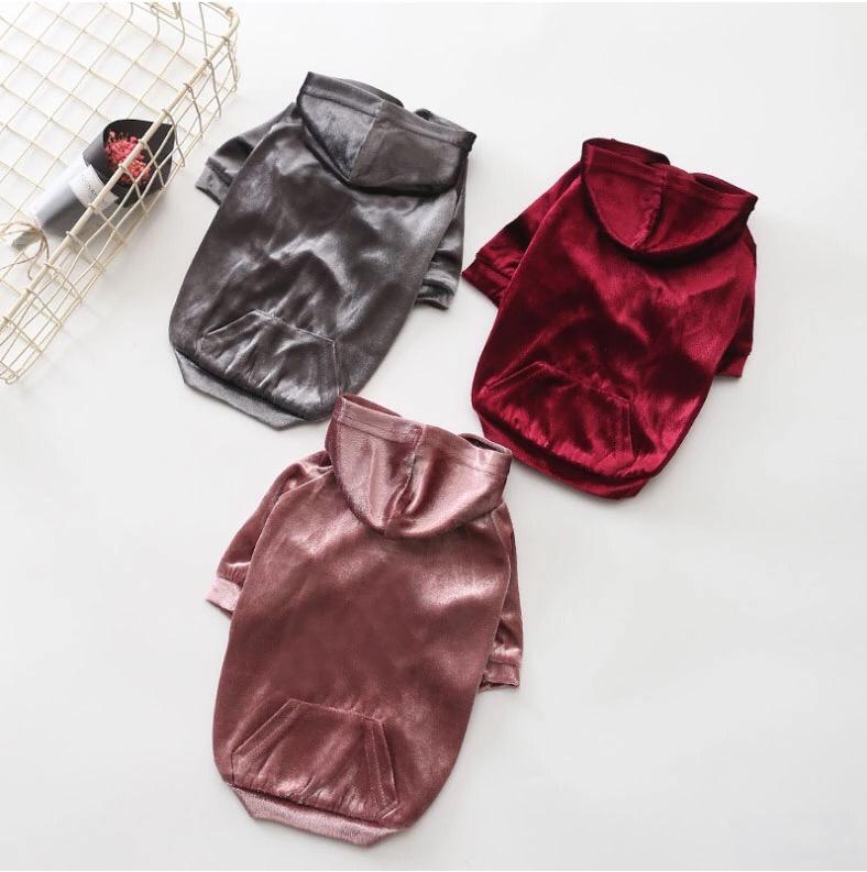 Fashion Velvet Hoodies - Burgundy