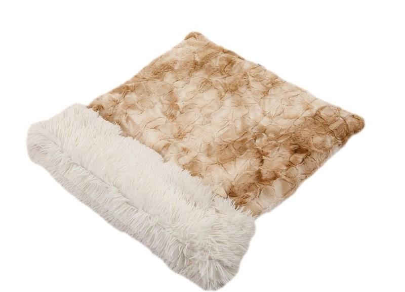 Beige Rabbit & Cream Shag Cuddle Pouch