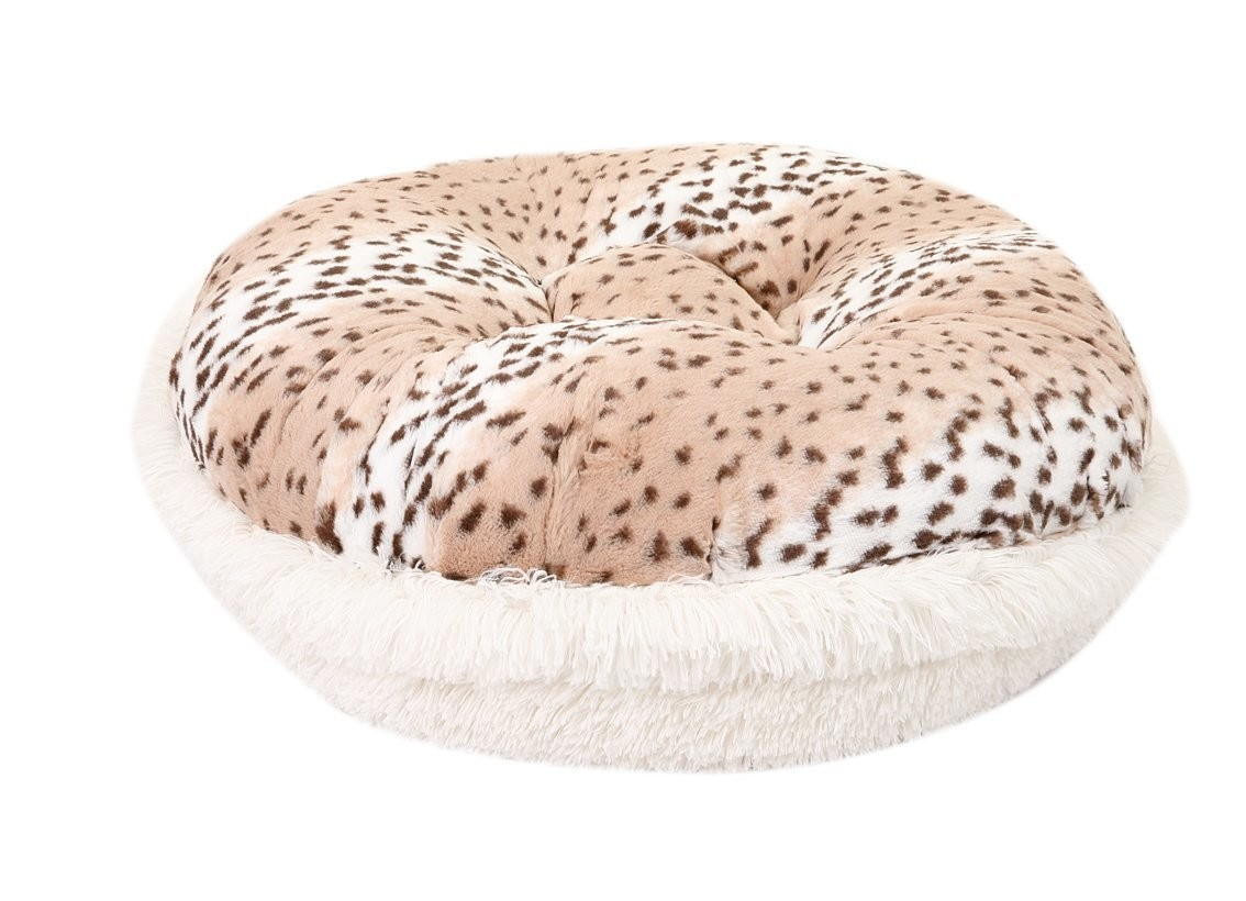 Snow Leopard & Cream Shag Bagel Bed