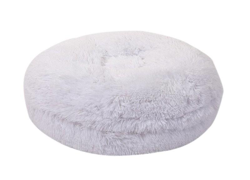 White Shag Bagel Bed