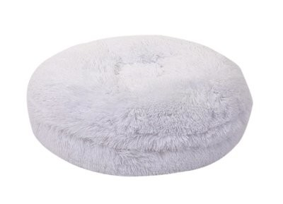 White Shag Bagel Bed