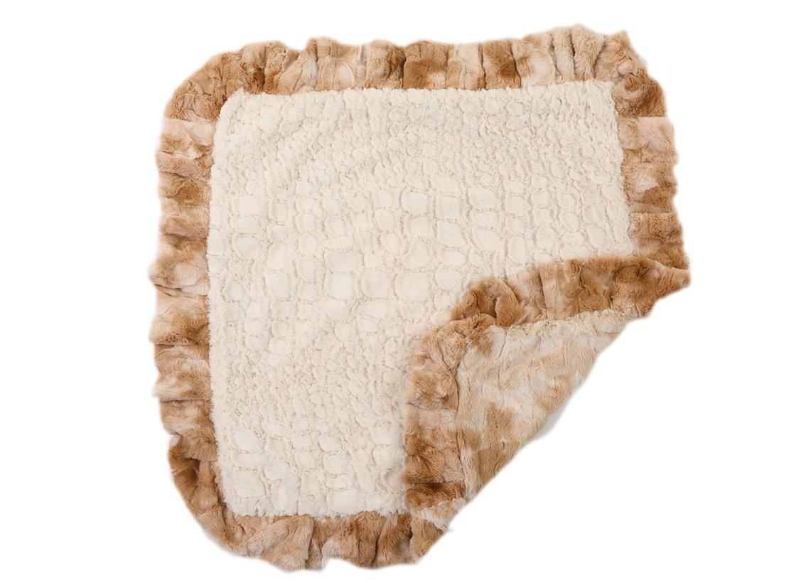 Beige Rabbit with Cream Crocodile Blanket