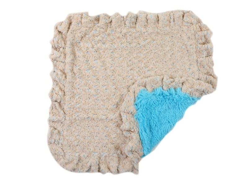 Baby Blue Rose with Blue Shag Blanket