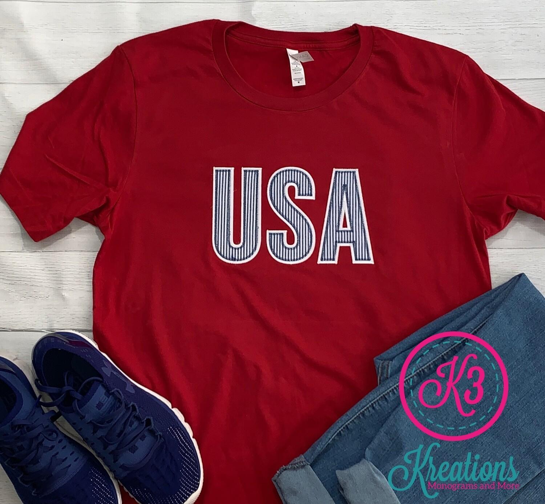 Adult Blue Seersucker USA Short Sleeve T-shirt (Choice of Shirt Brand)