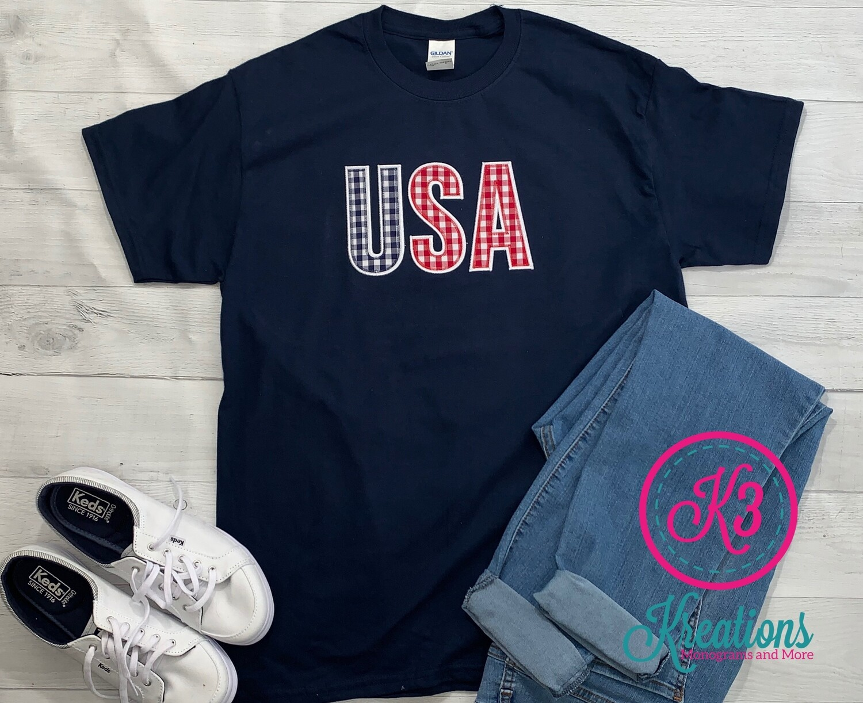Adult Gingham USA Short Sleeve T-shirt (Choice of Shirt Brand)