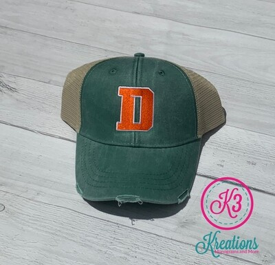 Distressed Trucker Hat with Choice of Logo (FDG)