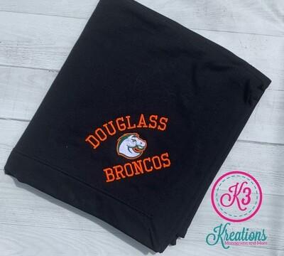 Douglass Broncos Fleece Sweatshirt Blanket (3 color options) (FDGS)
