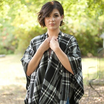 Black Plaid Kennedy Shawl