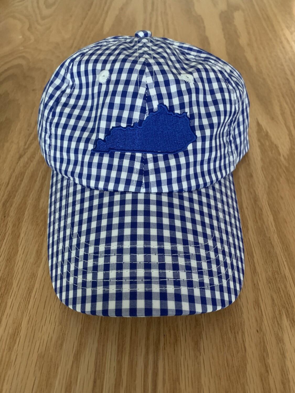 Blue & White Gingham Kentucky Hat