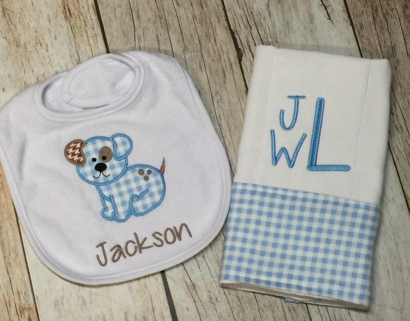 Blue Gingham Precious Puppy Bib & Burp Cloth