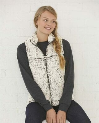 Ladies Frosty Grey Sherpa Full-Zip Vest