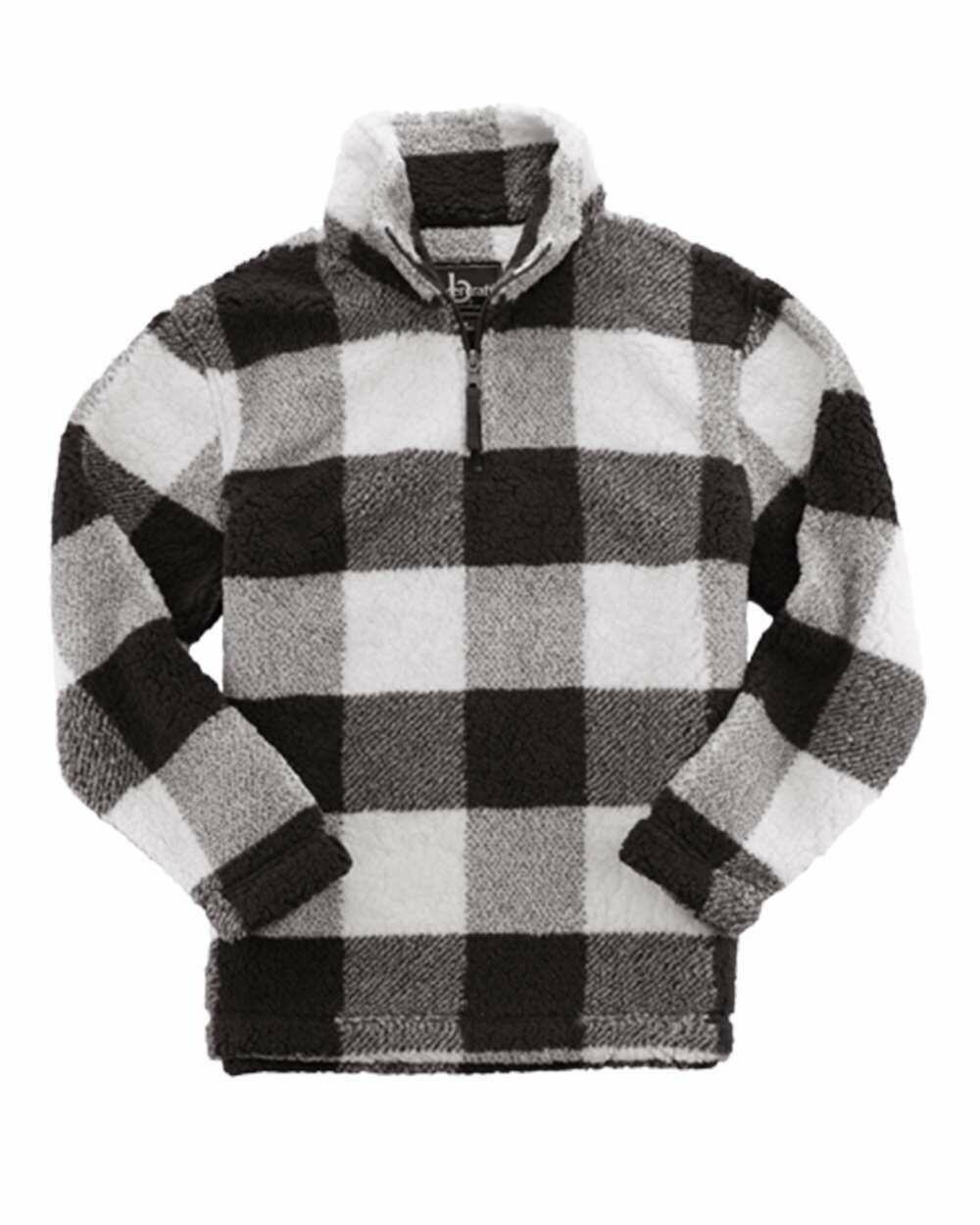 Unisex Plaid Sherpa Fleece Quarter-Zip Pullover