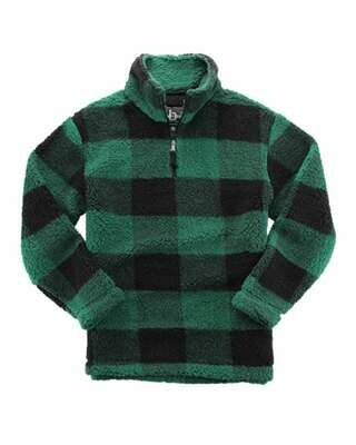 Unisex Plaid Sherpa Fleece Quarter-Zip Pullover with choice of logo (FDGS)
