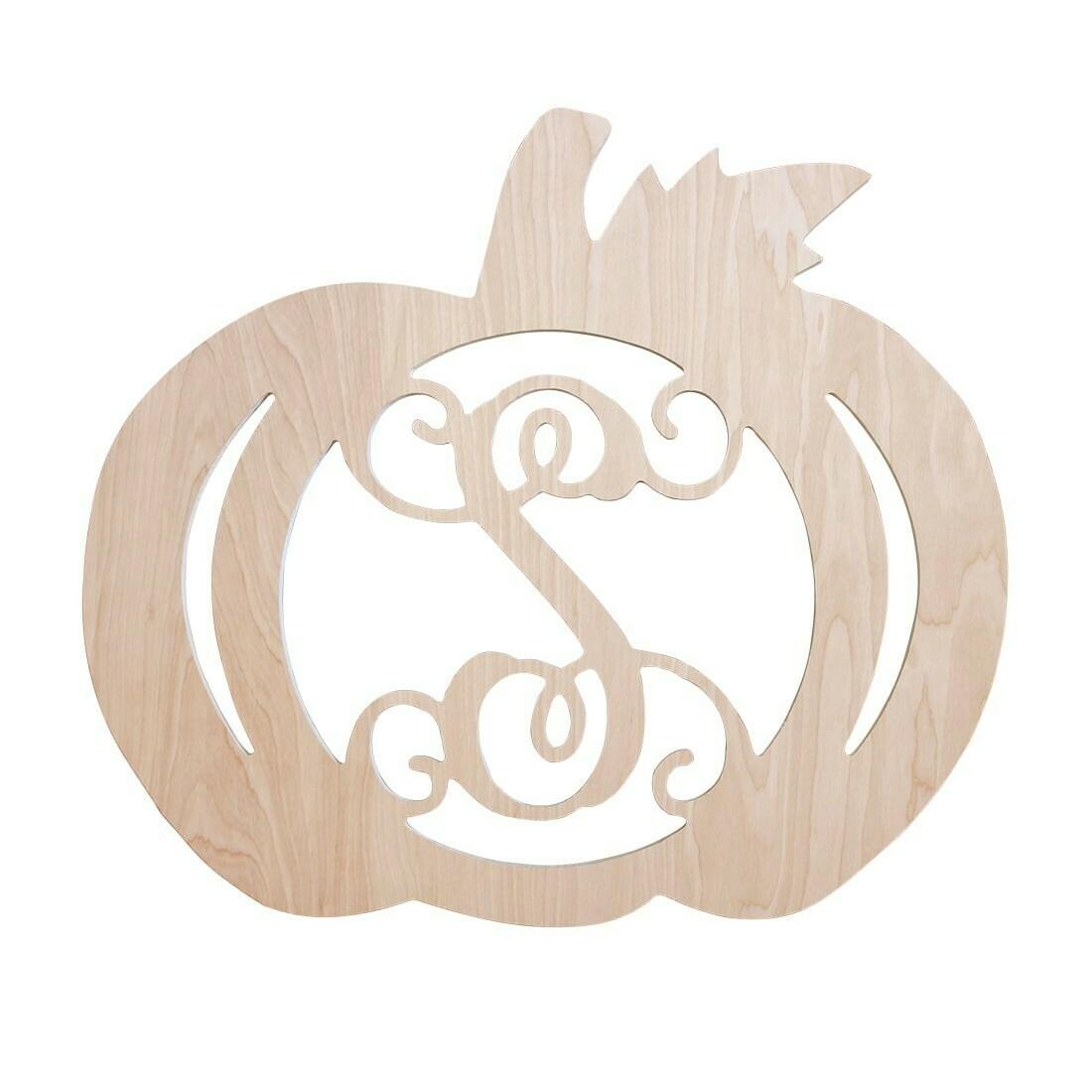 Pumpkin Wood Monogram