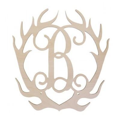 Antlers Wood Monogram