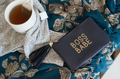 Navy Boss Babe Coin Purse
