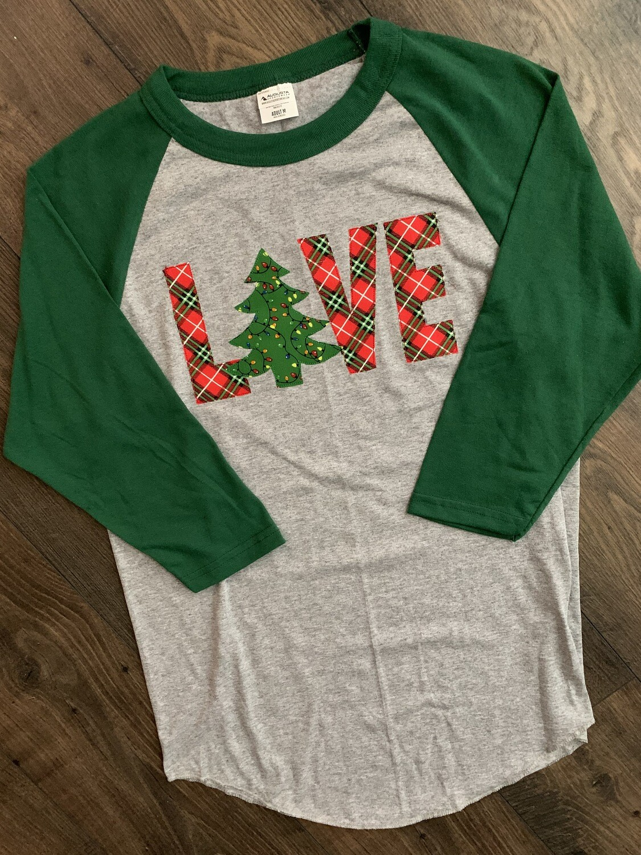 Youth Christmas Tree LOVE Raglan Baseball T-Shirt