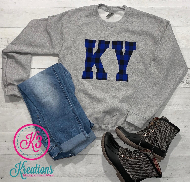 Buffalo Plaid KY Crewneck Sweatshirt