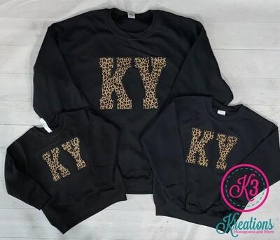KY Leopard Black Crewneck - Toddler or Youth