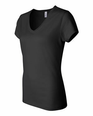 Ladies Bella + Canvas Black Jersey V-Neck Tee with Embroidered Left Chest Logo (LTC)