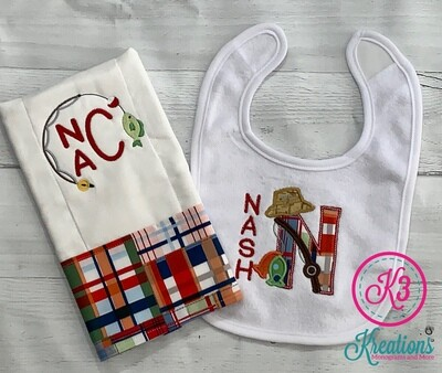 Plaid Gone Fishing Bib & Burp Cloth