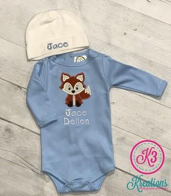 Baby Boy Light Blue Fox Onesie with Hat
