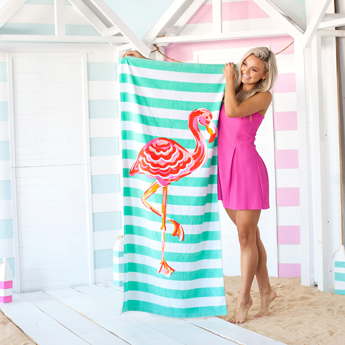 Flamingo Stripe Towel