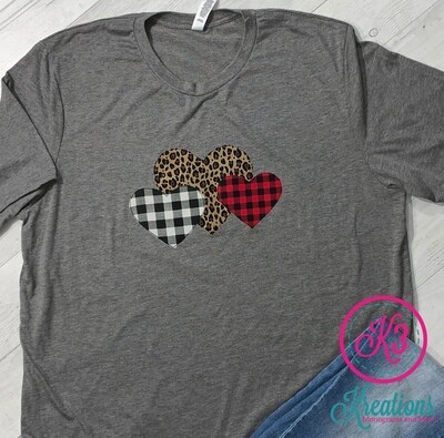 Adult Heart Trio Jersey Short Sleeve Valentine's Day Tee