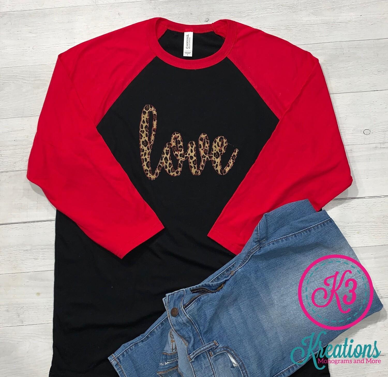 Ladies Leopard Print Love Valentine's Day Baseball Tee