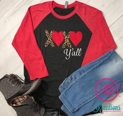 Adult XOXO Y'all Valentine's Day Baseball Tee