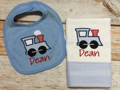 Choo Choo Train Bib & Burp Cloth