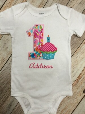 First Birthday Cupcake Onesie