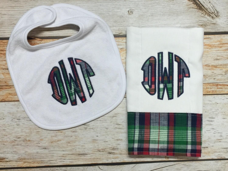 Plaid Monogram Bib & Burp Cloth
