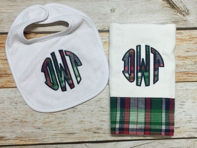 Plaid Monogram Bib & Burp Cloth