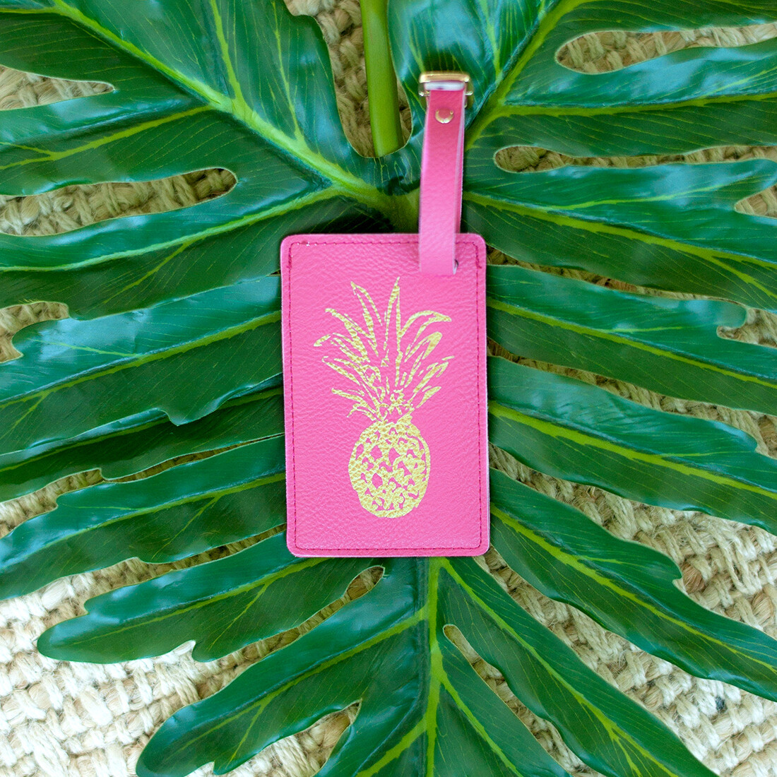 Hot Pink Pineapple Luggage Tag
