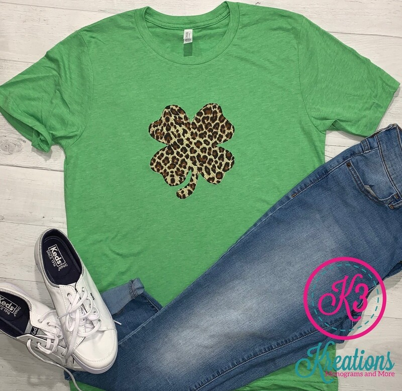 Adult Leopard Shamrock St. Patrick's Day Green Short Sleeve T-Shirt