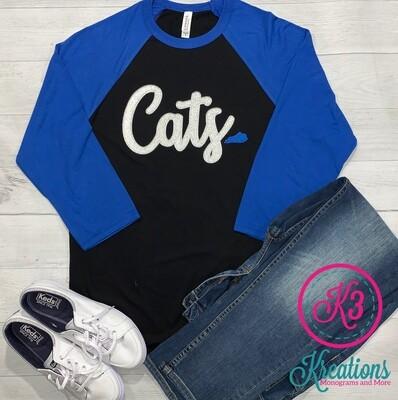 Cats Silver Script Baseball T-Shirt