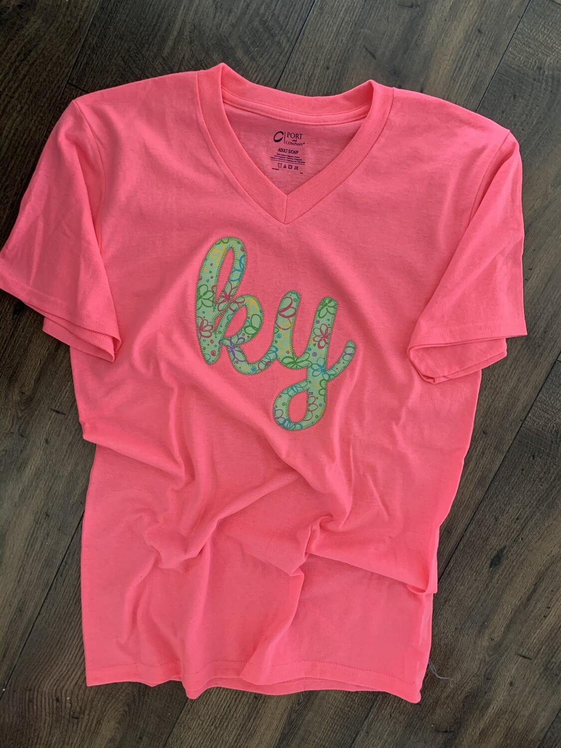 Ky Script Flower Power V-Neck Neon Pink Short Sleeve Tee