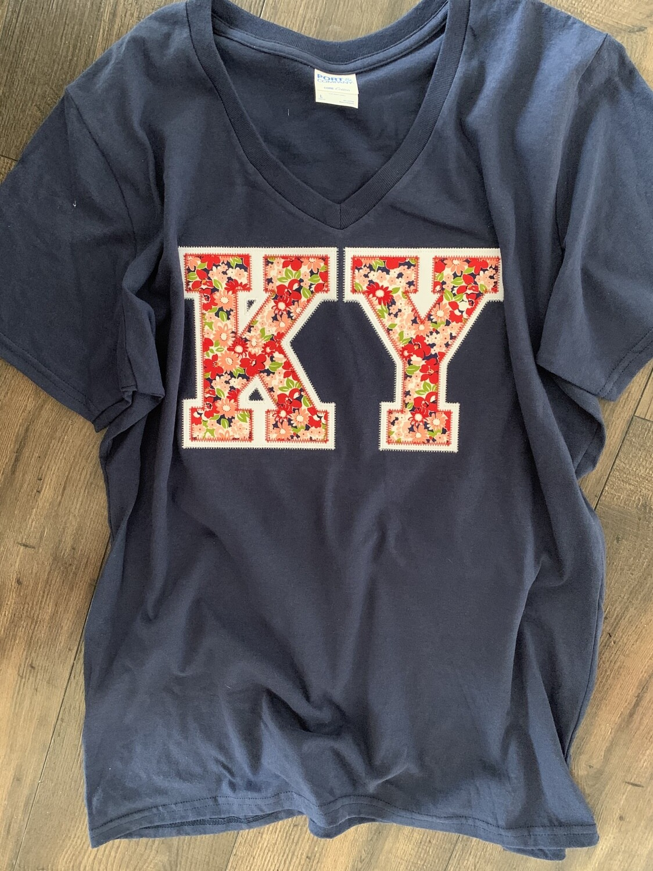 KY Blooms Navy V-Neck Short Sleeve Tee