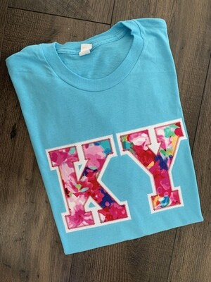 KY Floral Watercolor Aqua Short Sleeve Tee