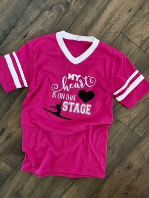 Adult Dance Mom My Heart Is On That Stage V-Neck Jersey Short Sleeve T-shirt