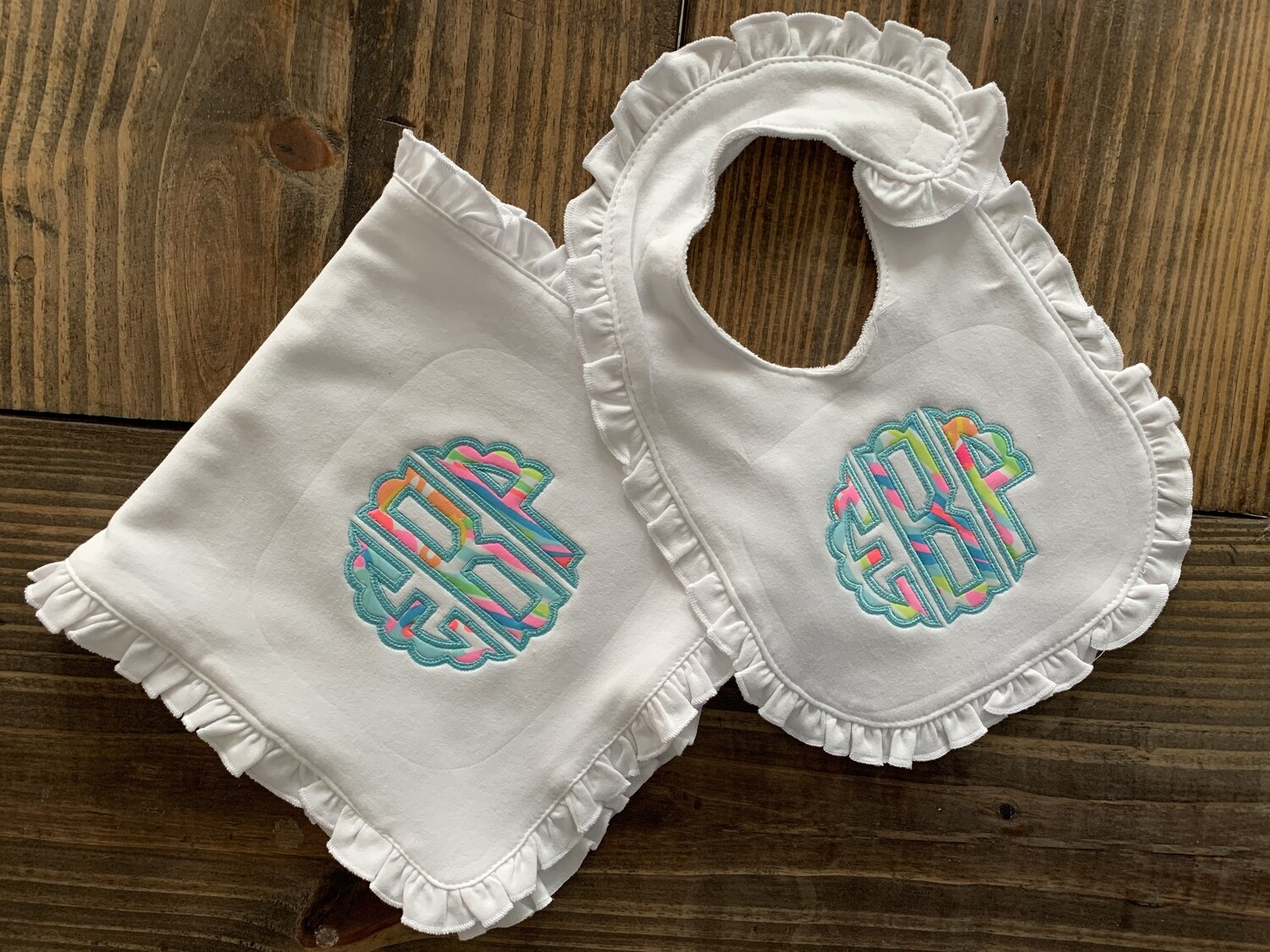 Lilly Ruffle Bib & Burp Cloth with Scalloped Circle Monogram - choice of Lilly fabric