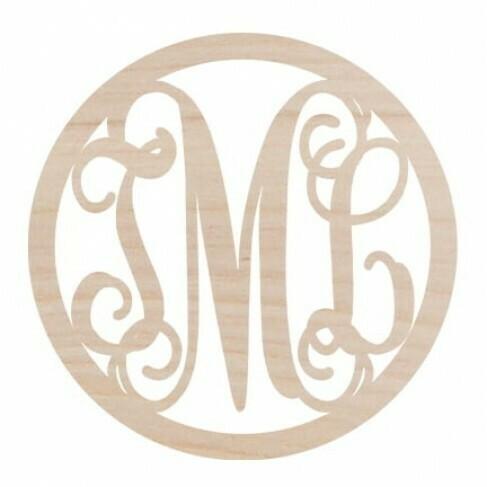 Circle Design Three Initial Wood Monogram