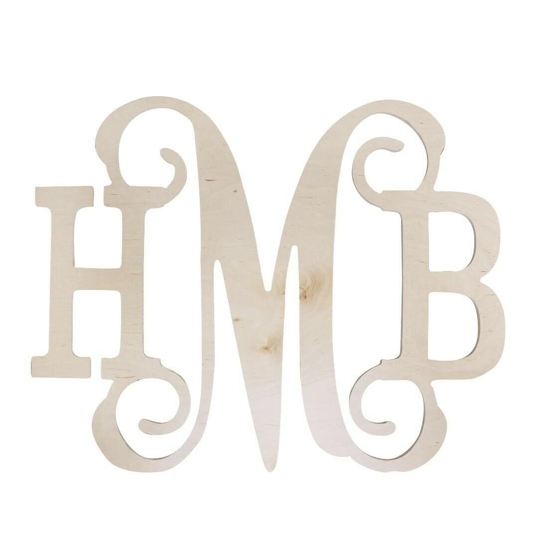 Classic Vine Three Initial Wood Monogram