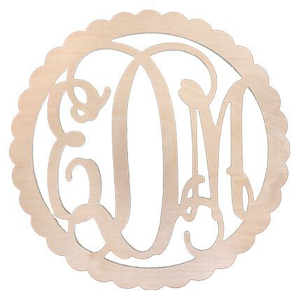 Scallop Design Three Initial Wood Monogram