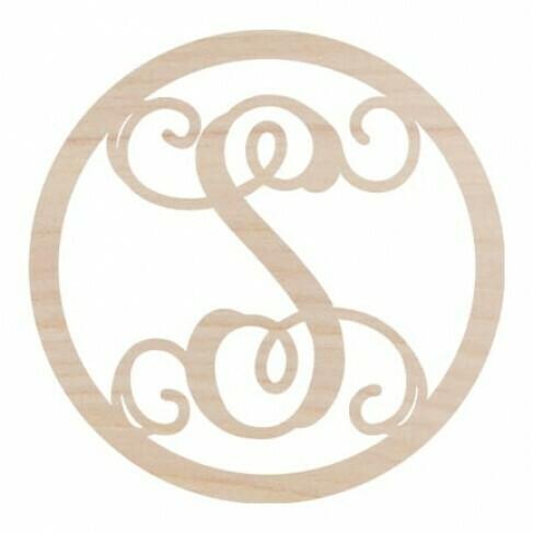 Circle Design Wood Monogram