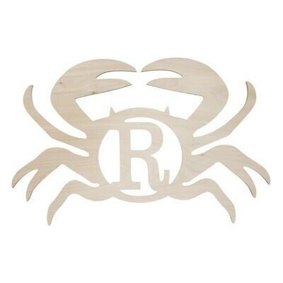 Single Initial Birch Crab Wood Monogram