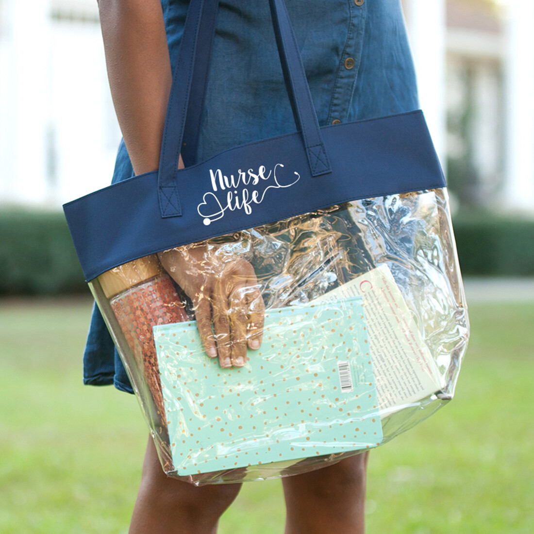 Nurse Life Navy Clear Tote